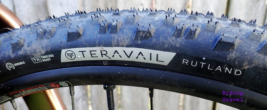 Detail shot of a Teravail Rutland tire.