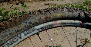 A muddy Kraken tire