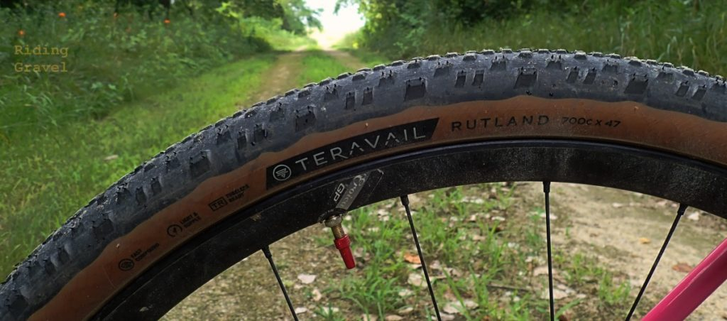 Detail shot of a Teravail Rutland 700 X 47mm tire