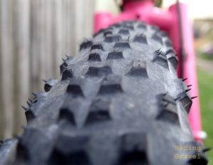 Close up of the Teravail Rutland tread pattern