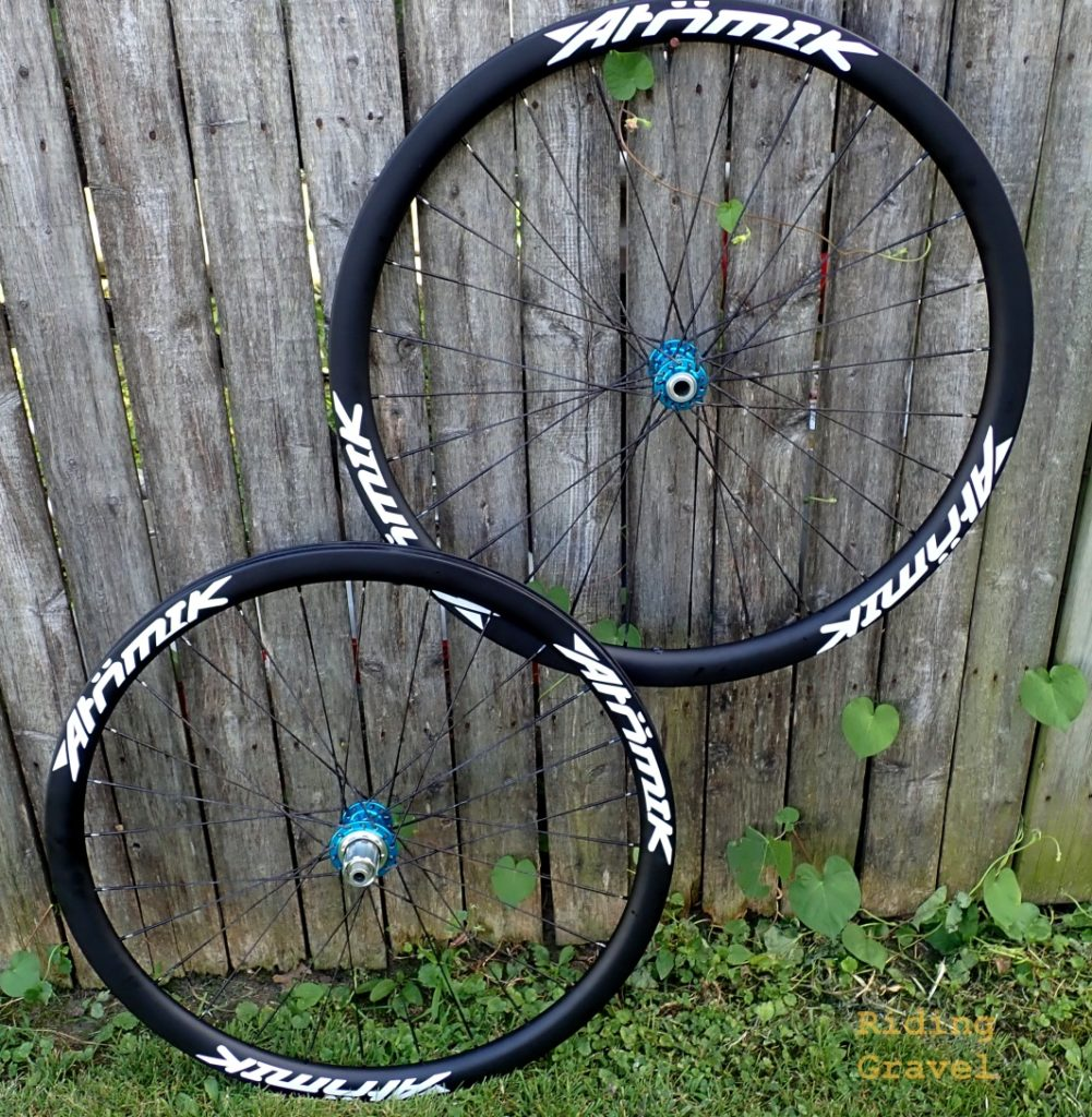 A pair of Atomik/Berd Ultimate Carbon gravel wheels
