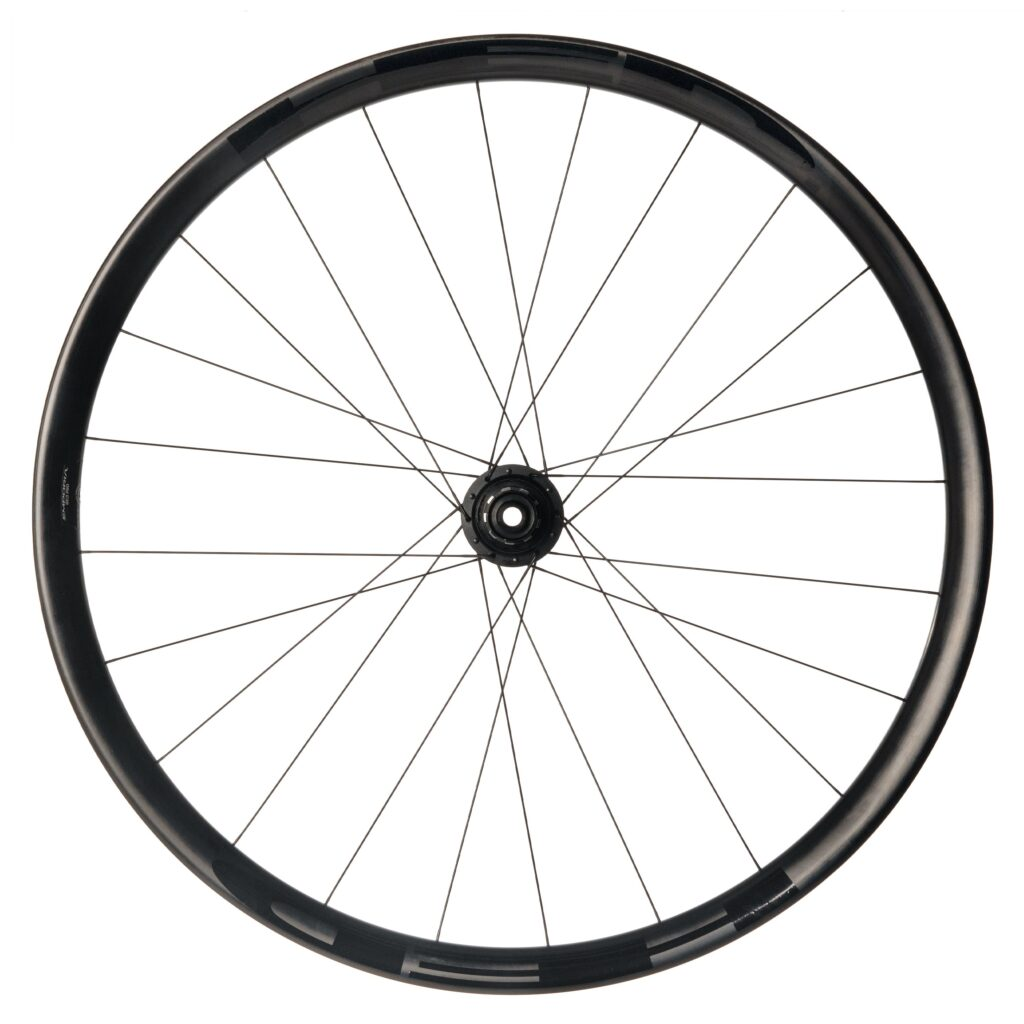 Stock image of a side view of the new Emporia GC3 Pro carbon rear wheel from HED Wheels