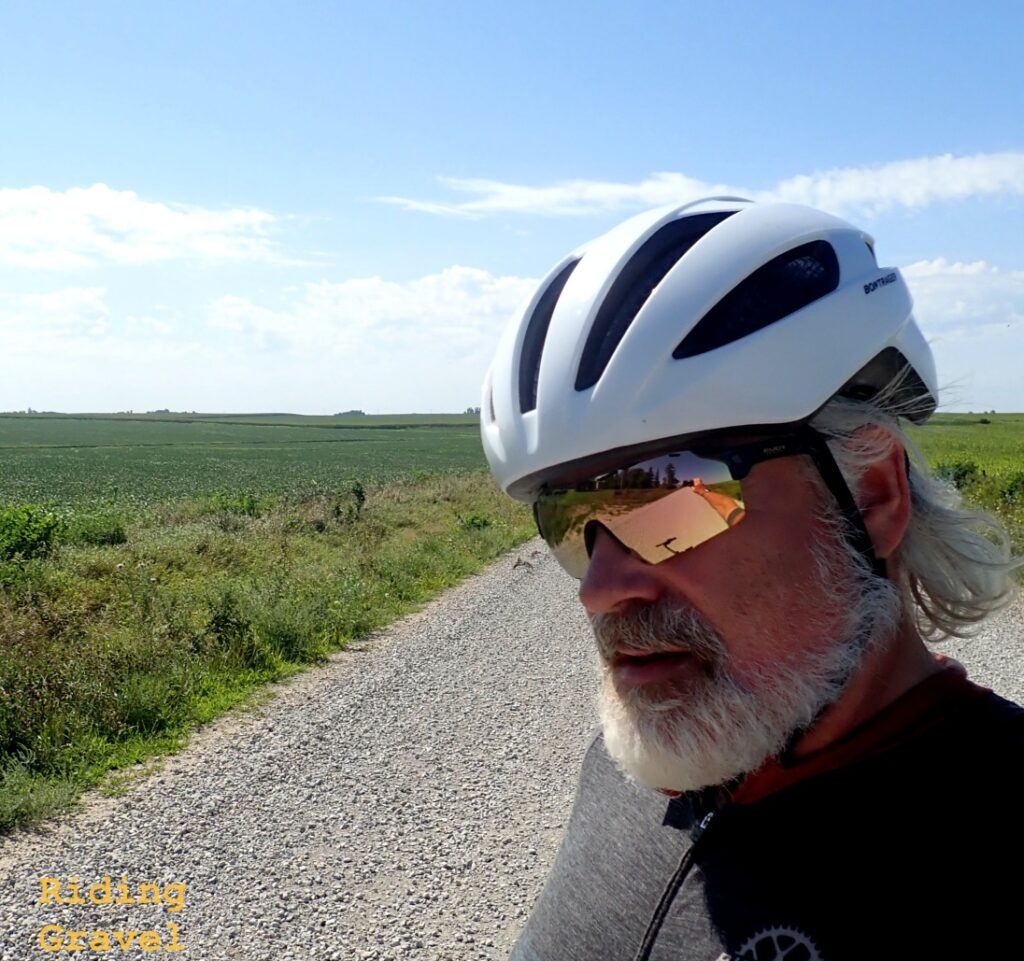 Guitar Ted modeling the Rudy Project Cutline glasses on a rural road