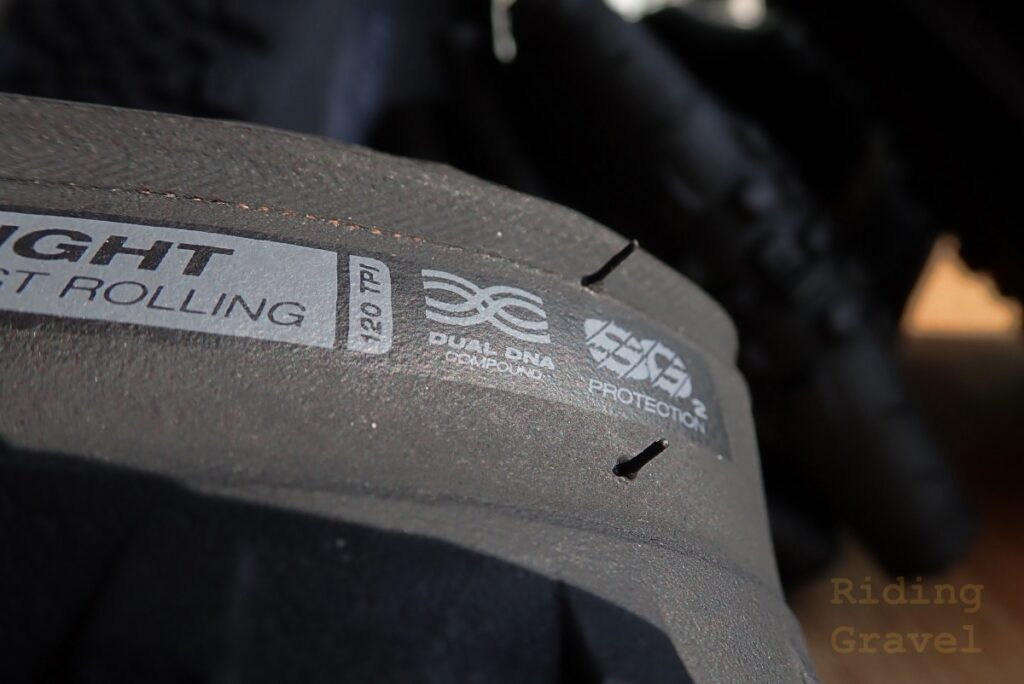 Detail of a WTB SG2 gravel tire