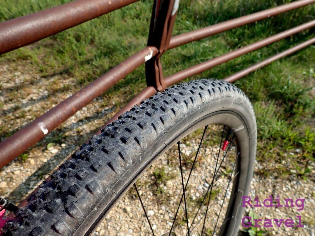 The WTB SG2 Resolute tire against a gate.