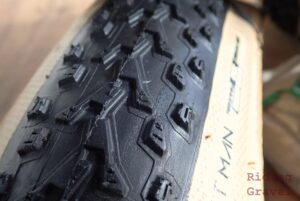 Detail shot of the Vee Tire Rocketman tire tread pattern