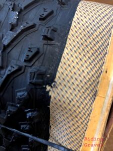 Detail of flaw in 650B tread cap