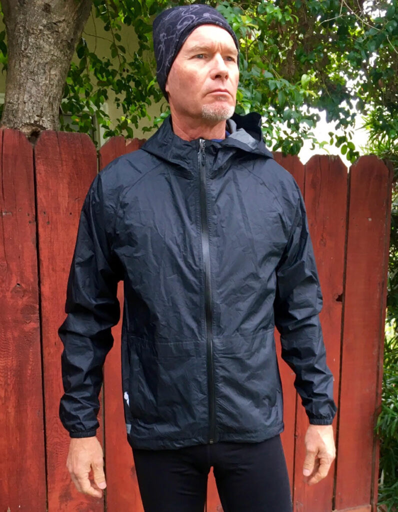 Grannygear models the Bontrager Avert Rain Jacket