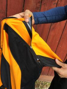 Detail of zip-off sleeves on the Phantom Jacket