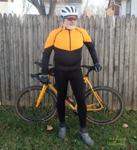 Guitar Ted models the Phantom Jacket, C5 Thermo+ Bib Tights, and the mid-gloves by GORE