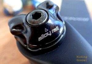 Detail of the Roval Terra Carbon post saddle rail clamp