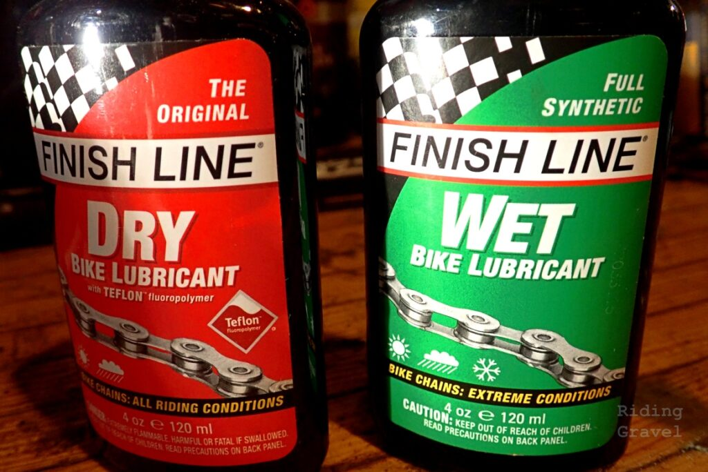 """Finish Line """"Wet"""" and """"Dry"""" chain lubrication products"""