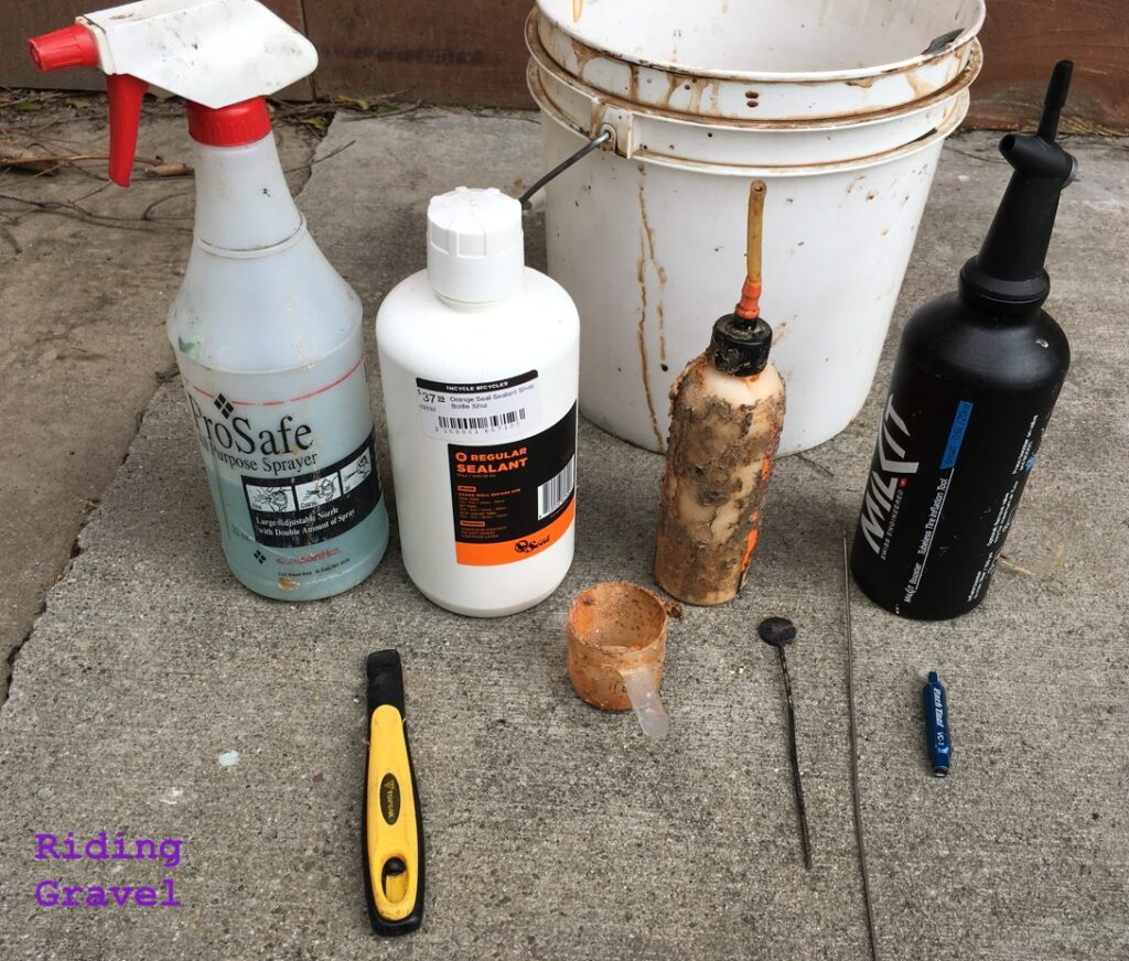 Various items for tubeless maintenance