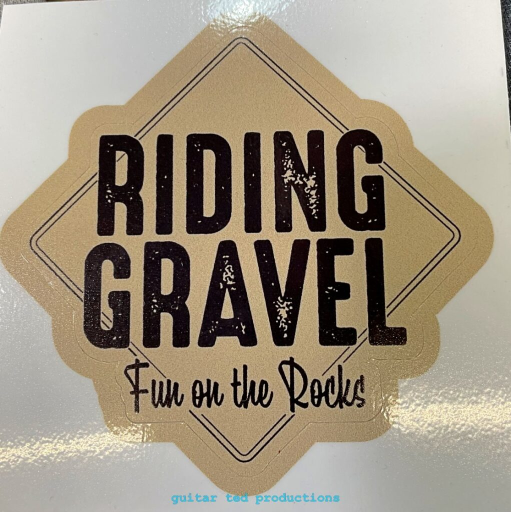 """Close up of the Riding Gravel """"Fun On The Rocks"""" stickers"""