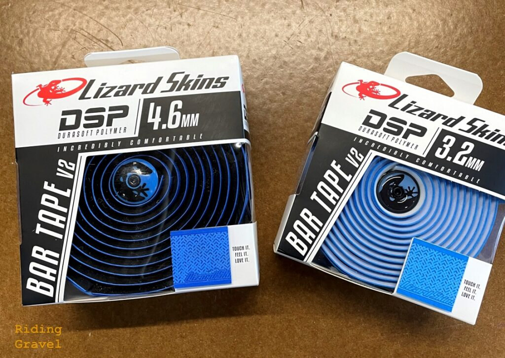 Lizard Skins DSP V2 4.6mm and 3.2mm bar tapes.