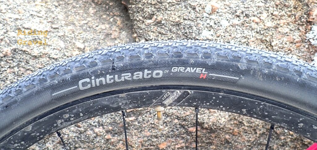 Side shot of the Cinturato Gravel H tire's branding patch