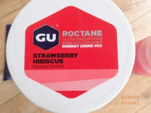 Gu Energy Rocatane Strawberry Hibiscus energy drink mix label