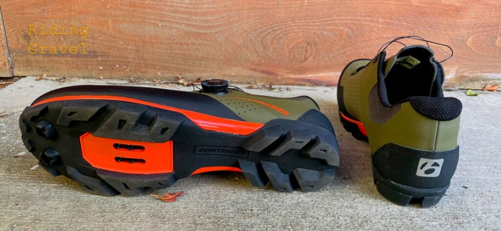 Bottom and back views of the Foray cycling shoes
