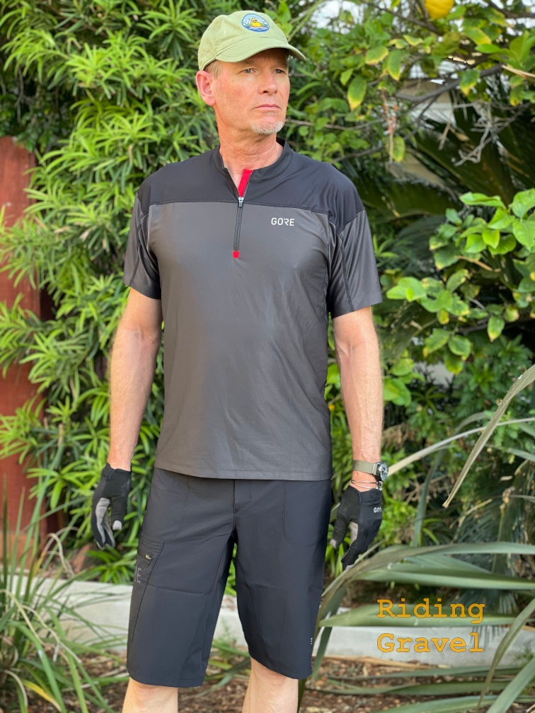 Grannygear models the C3 Zip jersey, Passion shorts, and the C5 Trail Gloves
