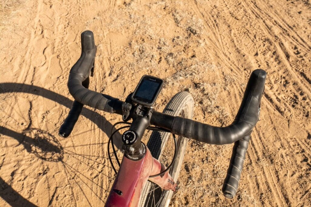 Overhead view of handle bar wrapped with Wolf Tooth's Supple Lite Handle Bar Tape as seen on Gravel Grinder News