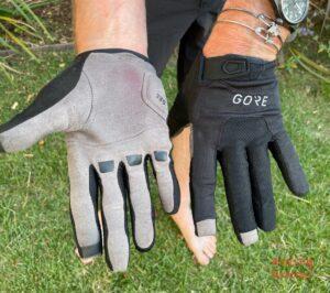 Grannygear modeling the GORE C3 Trail Gloves
