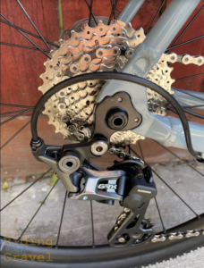A close-up view of the Masi Brunello's rear derailleur and cassette