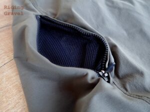Close up of the thigh pockets on the Gravel Shorts