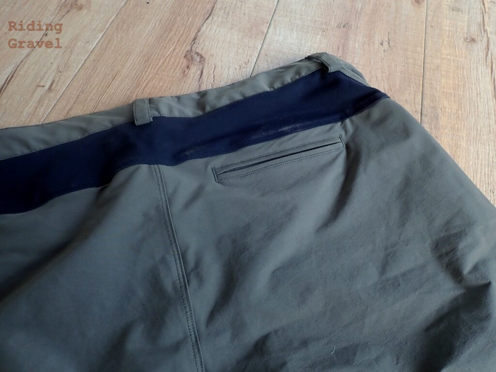 Close up of the back pocket on the Showers Pass Gravel Shorts