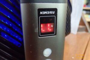Ravemen PR1600 light detail shot showing LED readout.