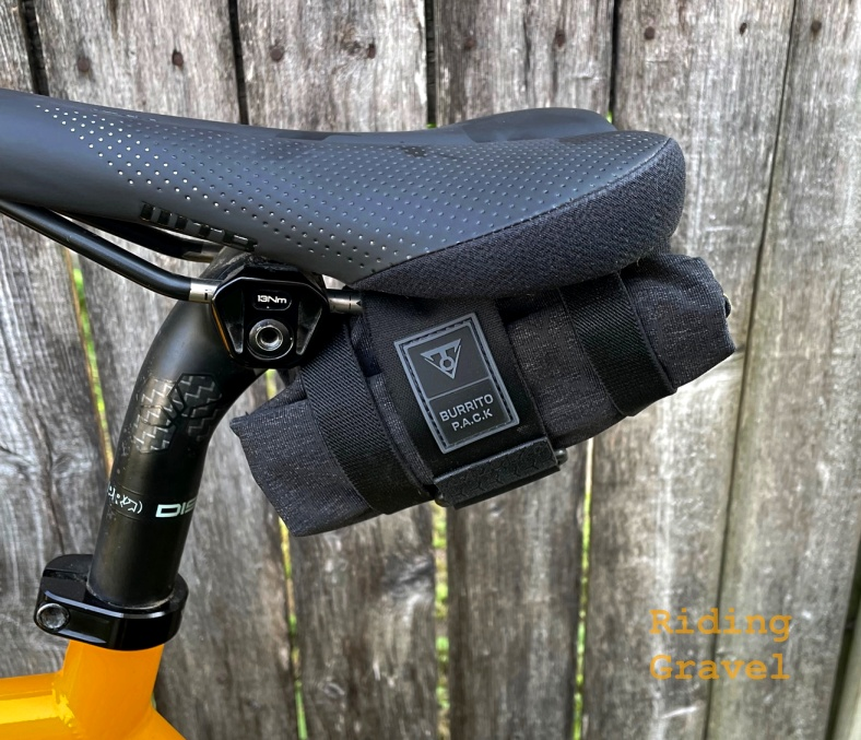 A close up view of the Topeak Burrito Pack on a bicycle