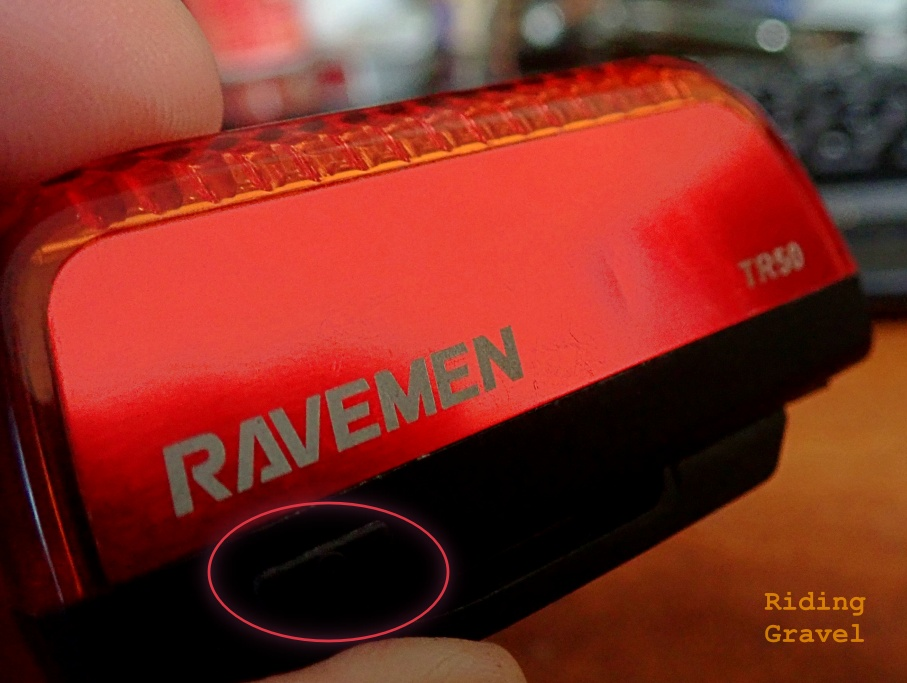 A close up of the side of a Ravemen TR50 light.