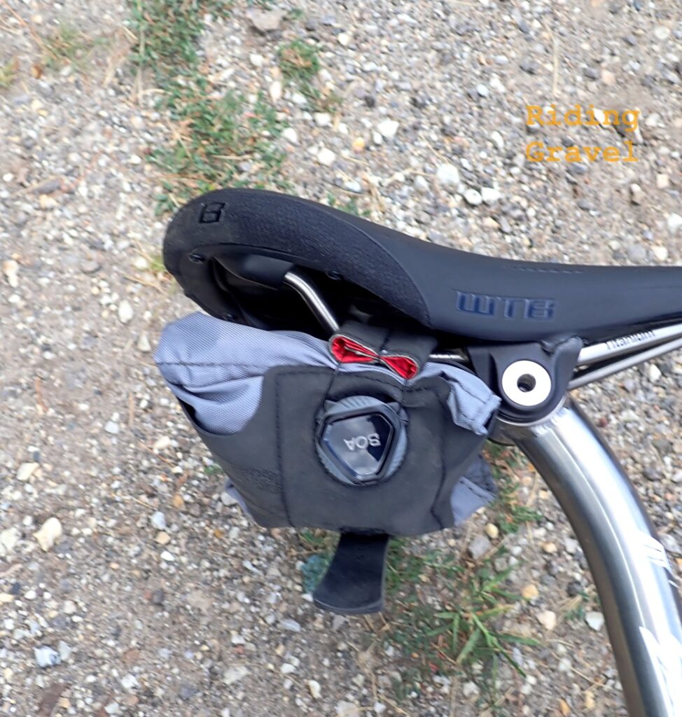 The SILCA Seat Roll Asymmetrico as it sat on a bicycle laying against the ground