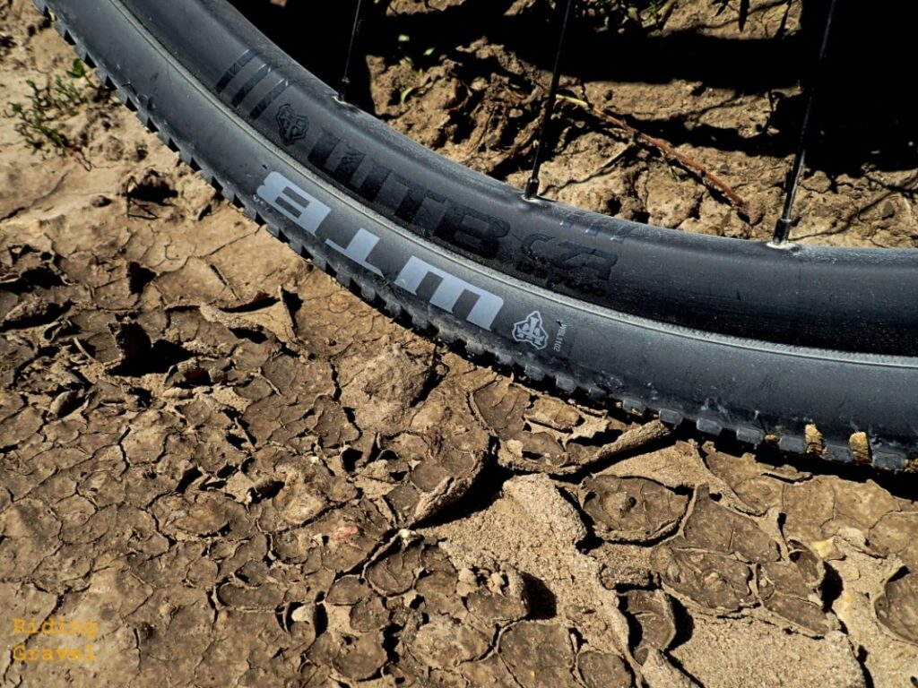 A close up of the WTB CZR wheel on a dirt surface