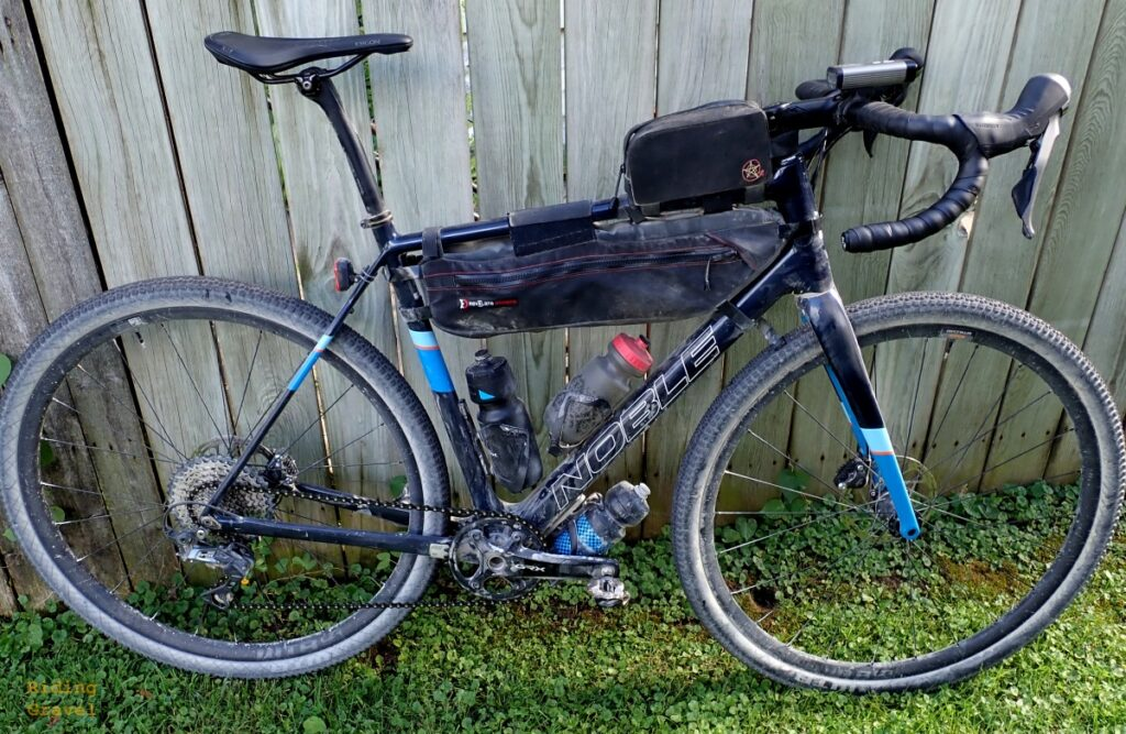 The Ergon Allroad saddle on the Noble GX-5 test bike after Guitar Ted's 100+ mile gravel ride.