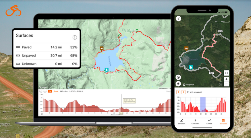 Screen shots of the new Surface Types feature from Ride With GPS