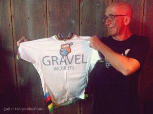 Gravel Worlds promoter, Craig Schmidt with the first Gravel Worlds jersey, circa 2010