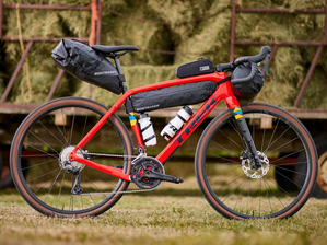 A Trek Checkpoint with the Bontrager branded bag range mounted to it.